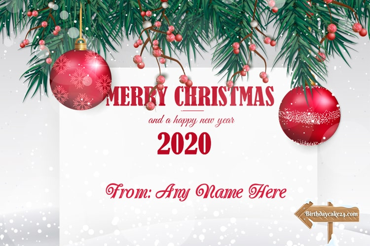 Merry Christmas & Happy New Year 2020 Card With Name Edit
