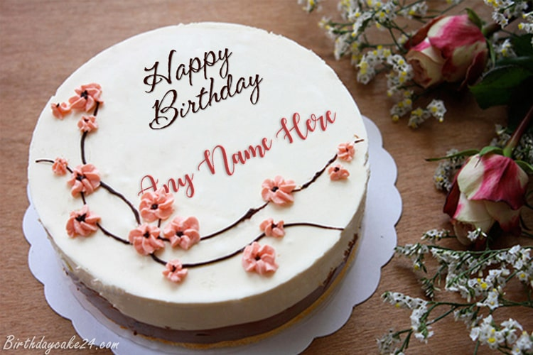 Creative Flower Happy Birthday Name Cakes Images
