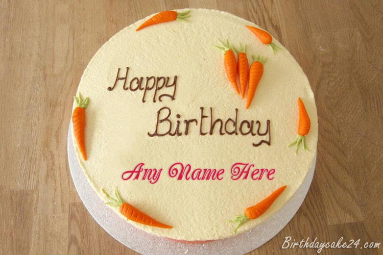 Lovely Carrot Wishes Cake With Name Edit