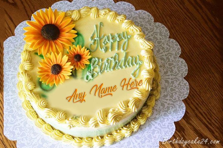 Cool Sunflower Birthday Cake Birthday Cards Printable Inklcafe Filternl