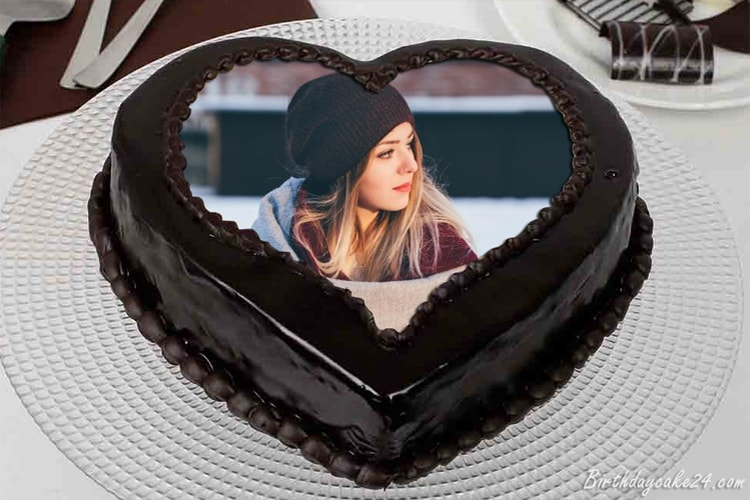 Heart Love Chocolate Cake With Your Photos