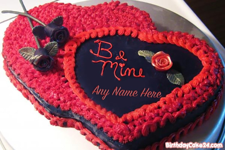 Romantic Rose Cakes For Lover With Name Edit