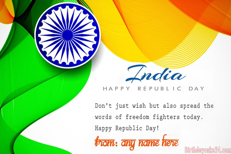 Free Personalized Republic Day Cards with Name Edit