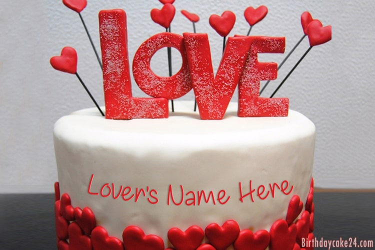 Terrific Love Birthday Cake For Lover With Name Funny Birthday Cards Online Inifofree Goldxyz