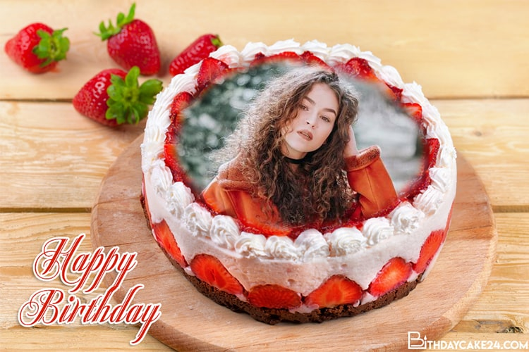 Strawberry Birthday Cake With Photo Frame
