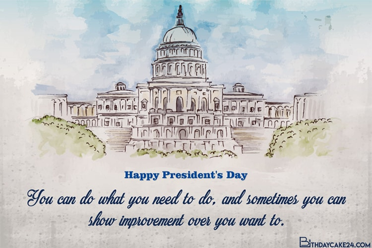 Watercolor Presidents' Day Wishes Card Online Free
