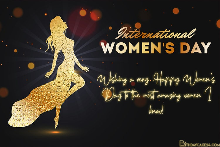 Glittering Women's Day Wishes Cards