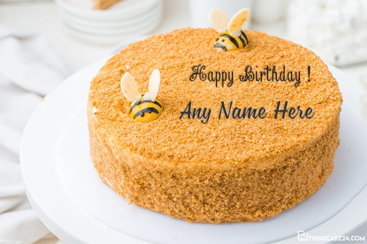 Strange Special Bee Birthday Cake With Name Editing Funny Birthday Cards Online Inifofree Goldxyz