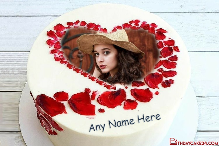 Rose Heart Birthday Cake For Lover With Name And Photo Frame