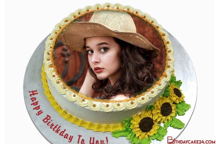 Sunflower Birthday Cake With Photo Frame Edit