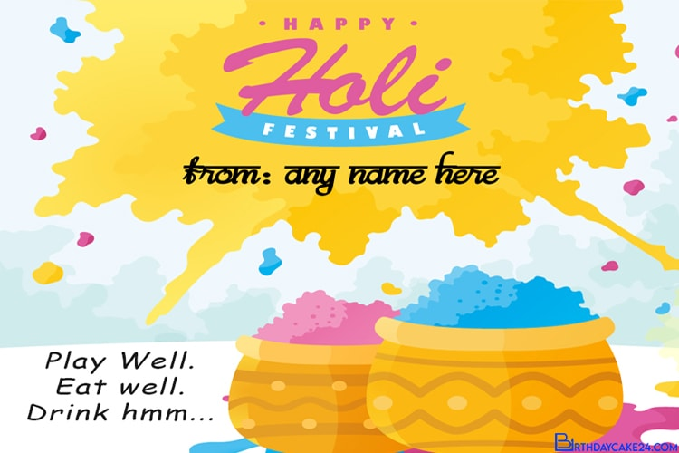 Customize Holi Greetings Card With Name