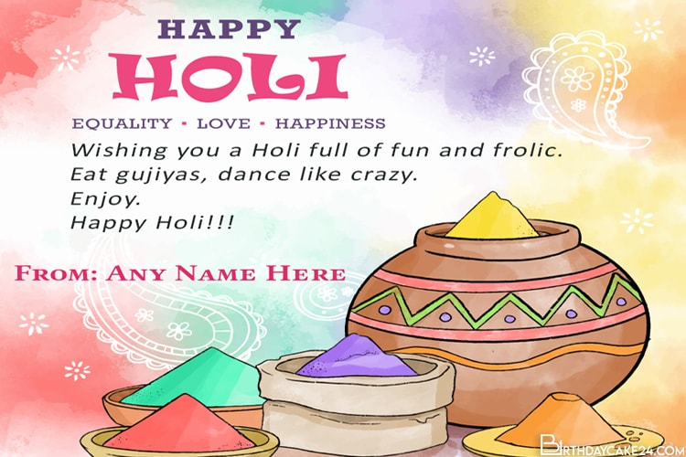 Happy Holi Wishes Card With Name Editor