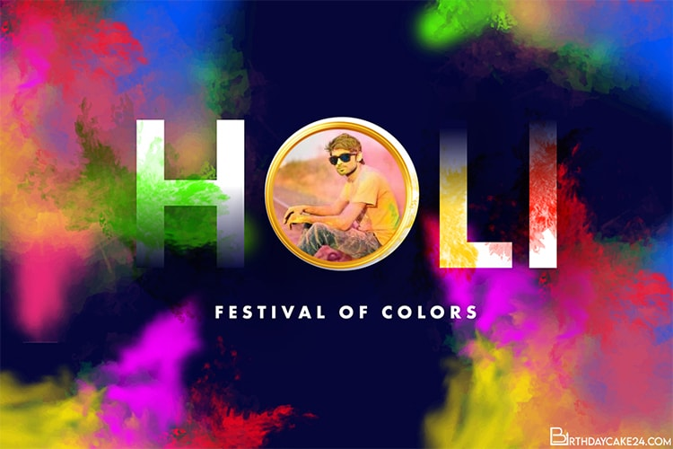 Free Happy Holi Greeting Cards With Photo Frame