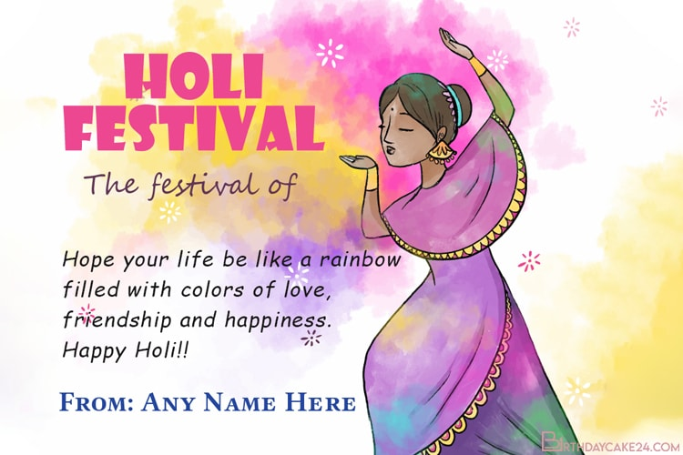 Write Name On Colorful Holi Greeting Card Maker