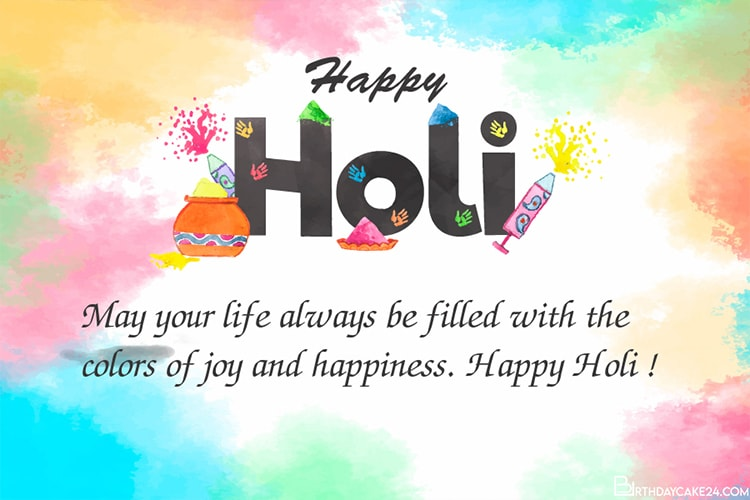 Design Custom Holi Greeting Wishes Cards Online