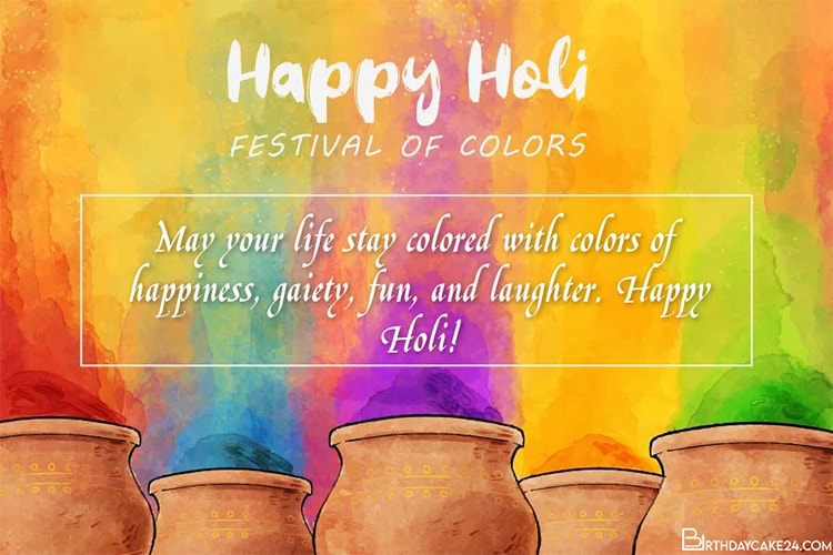 Write Wishes On Watercolor Holi Greeting Card