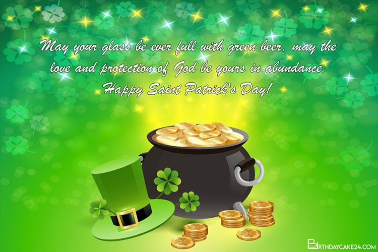 Sparkling St. Patrick's Day Wishes Card Maker Online