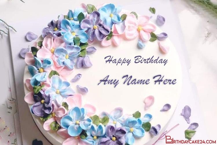 Prime Lovely Happy Flower Birthday Cake With Name Birthday Cards Printable Trancafe Filternl