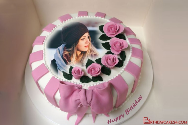 Pink Rose Birthday Cake With Photo Frame Editing