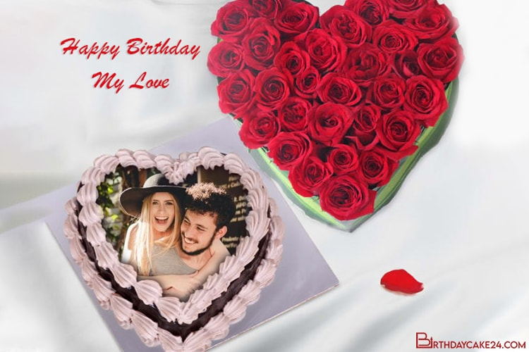 Customize Heart Love Birthday Cake With Photo Edit