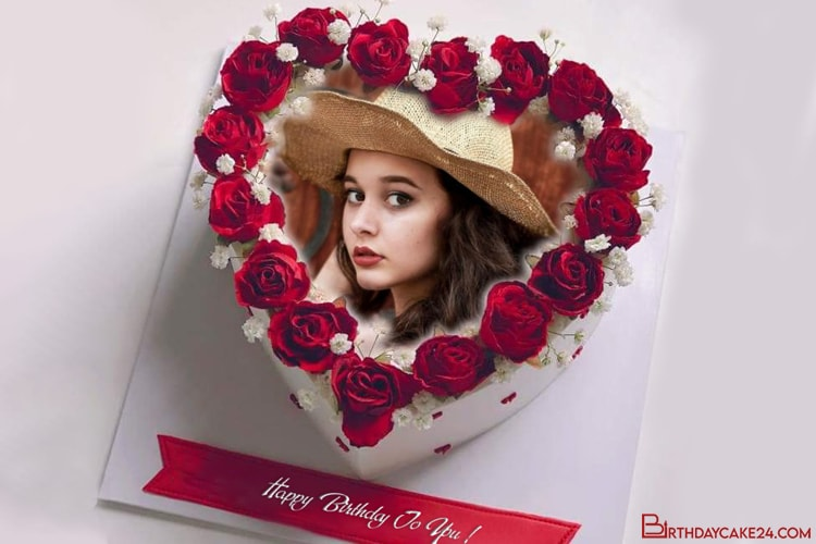 Red Rose Birthday Cake for Lover With Name and Photo Frame