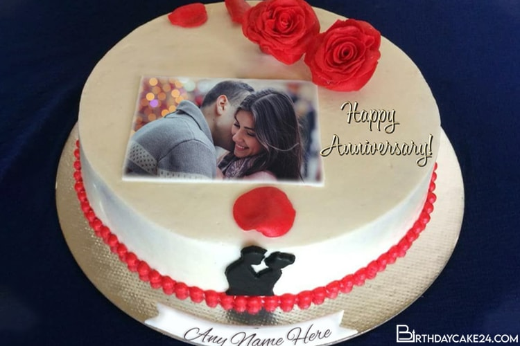 Latest Anniversary Cake With Name And Photo Edit