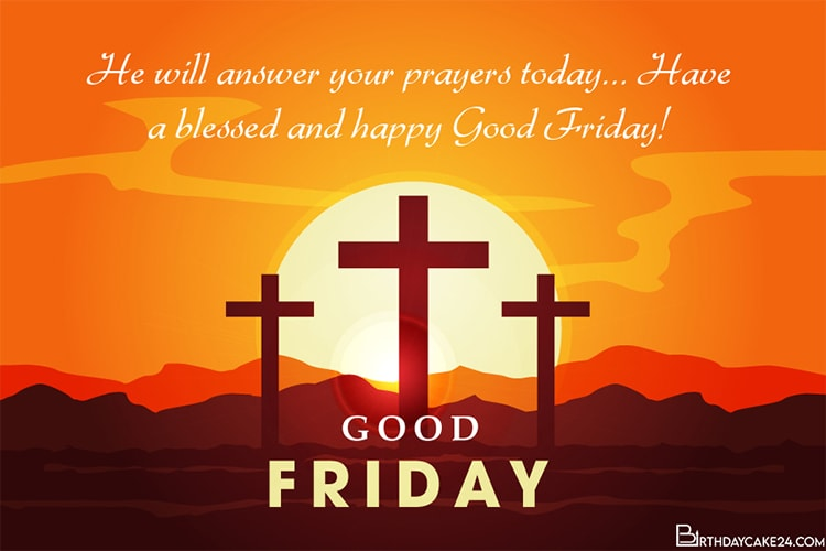 Write Wishes on Good Friday Blessings Card Images