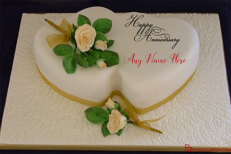 Happy Wedding Anniversary Cake With Your Name