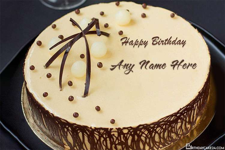 Fabulous Chocolate Happy Birthday Name Cakes Online Personalised Birthday Cards Akebfashionlily Jamesorg