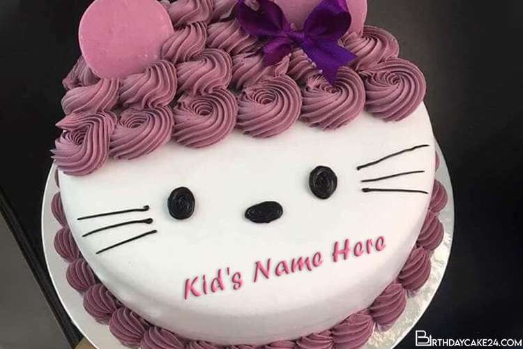 Marvelous Write Name On Happy Hello Kitty Birthday Cake Personalised Birthday Cards Cominlily Jamesorg