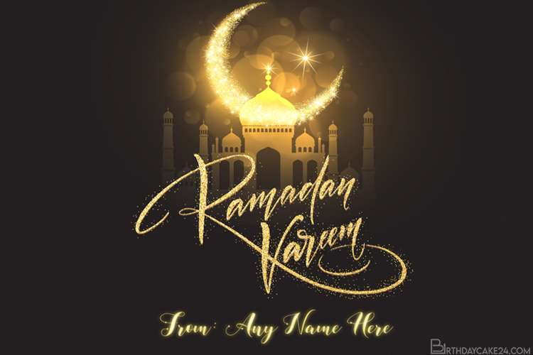 Write Name On Ramadan Mubarak Greeting Card