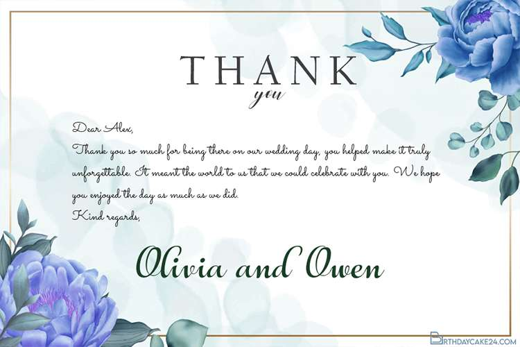 Blue Floral Wedding Thank You Card Template Free Download