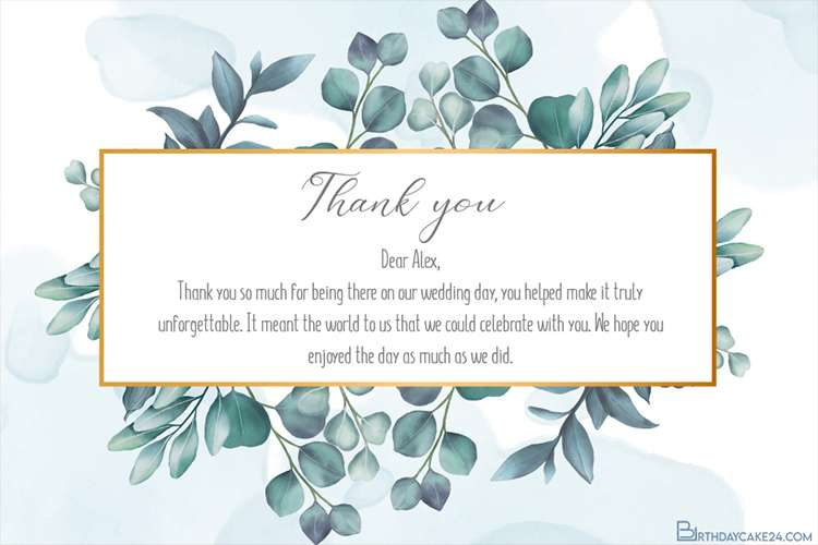 Vintage Wedding Thank You Card With Leaves