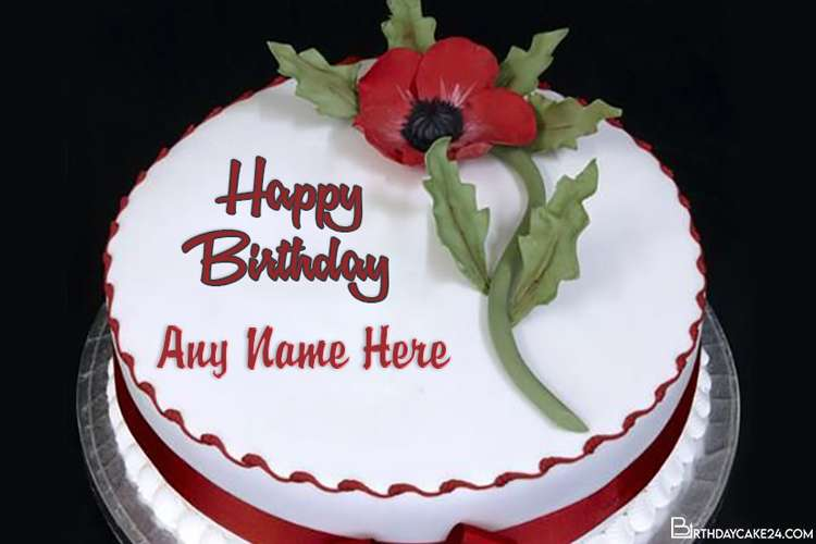Lovely Ice Cream Flower Cake With Name