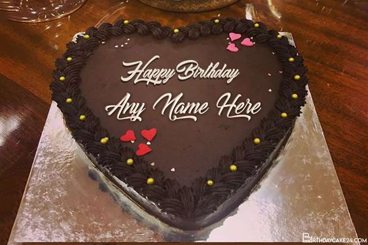 Best Chocolate Heart Birthday Cake With Name