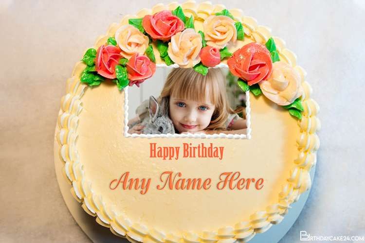 Fresh Lovely Rose Birthday Cake With Names and Pics