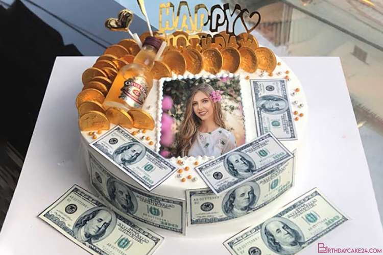 Money Birthday Cake With Photo and Name Online