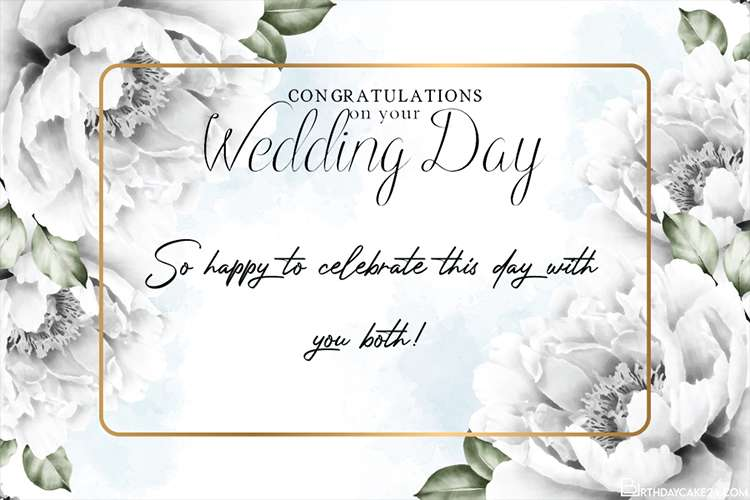 Watercolor Floral Wedding Congratulations Card