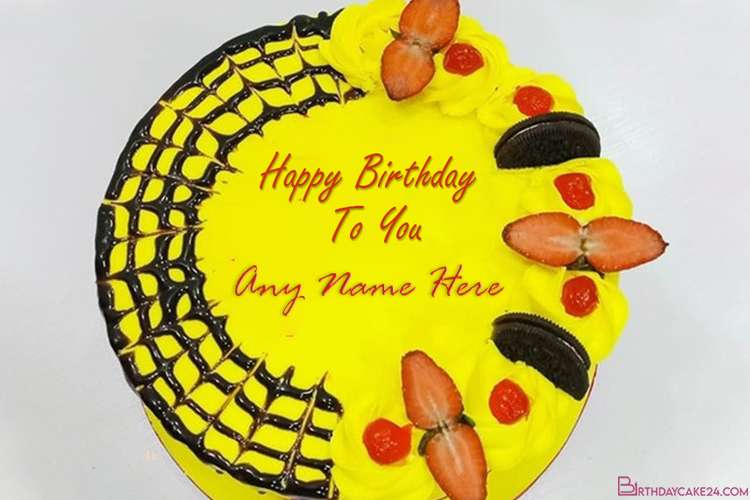 Happy Fruit Birthday Cake By Name Editing