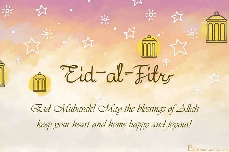 Watercolor Happy Eid Al-Fitr Cards With Stars