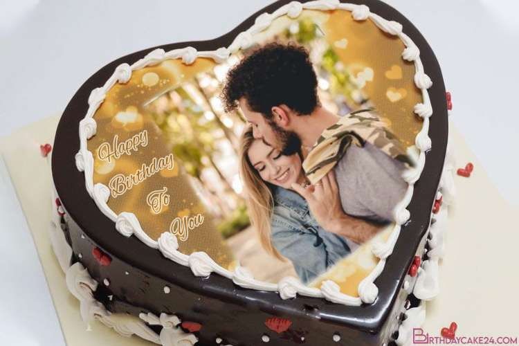 Pleasing Personalize Photos On Romantic Heart Birthday Cakes Personalised Birthday Cards Cominlily Jamesorg