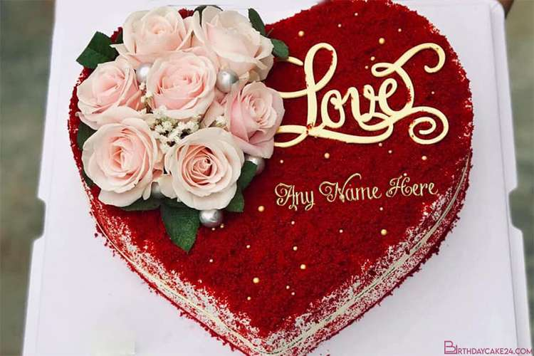 Red Velvet Birthday Love Cake With Name Online