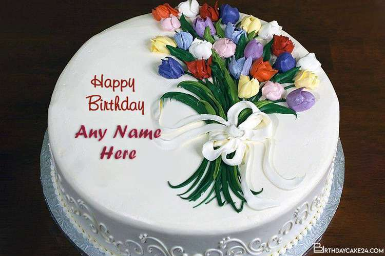 Lovely Flower Bouquet Birthday Cake With Name Edit