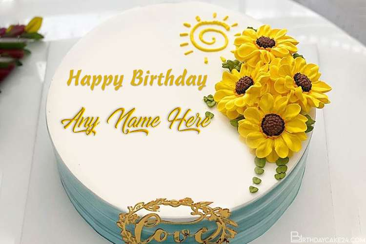 Yellow Flower Happy Birthday With Name Edit
