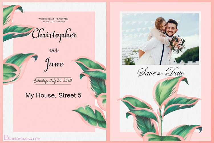 Pink & Green Wedding Invitation Cards Online