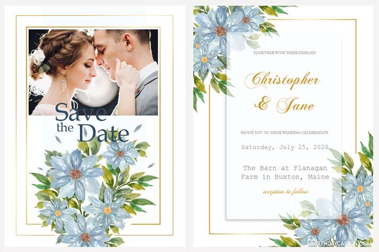 Customize Floral Wedding Invitation With Your Photo