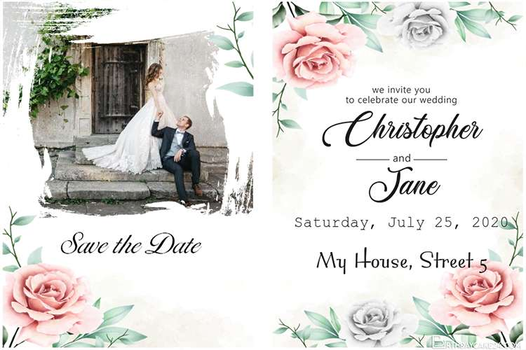 Beautiful Rose Wedding Invitation Card With Photos
