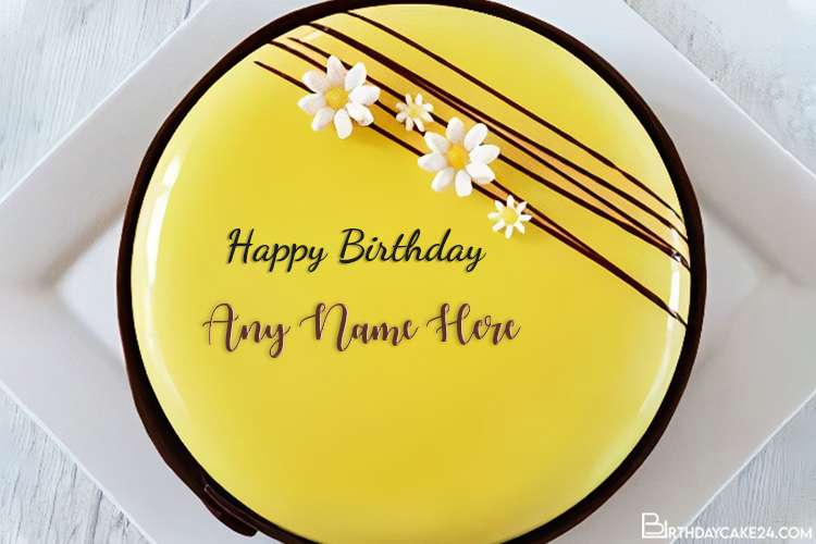 Yellow Birthday Cake With Name Edit