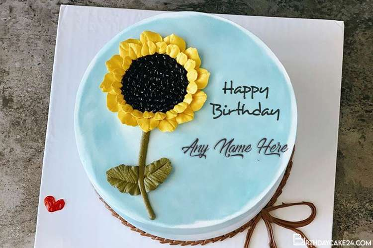 Happy Sunflowers Birthday Cake With Name