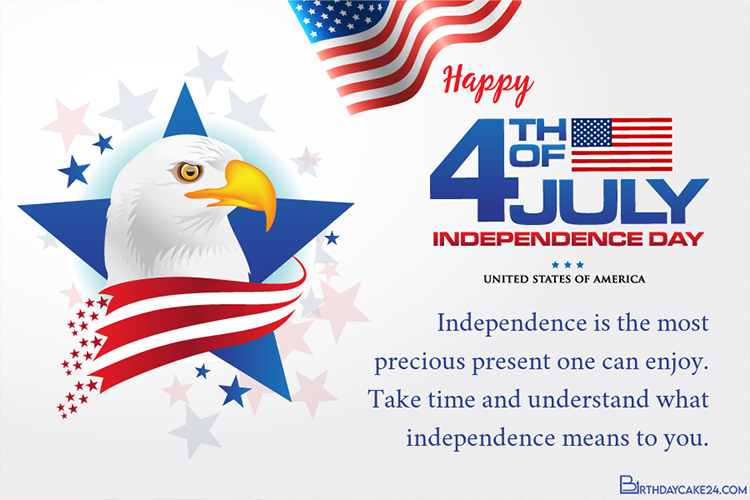 4th of July Happy Independence Day Card With Beautiful Flag